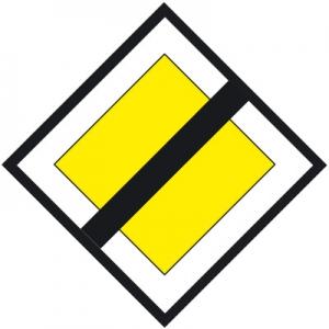 kerékpározás főútvonalon - főútvonal vége tábla